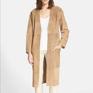 Theory Ankan Suede Open-Front Duster